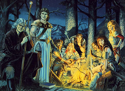 Dragonlance_Characters_around_a_campfire_by_Larry_Elmore